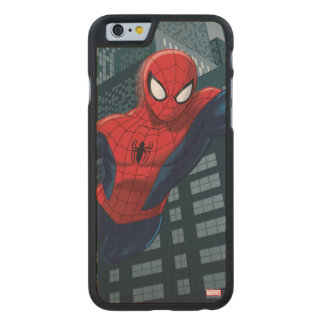 Spider-Man Swinging Through Downtown Carved® Maple iPhone 6 Slim Case