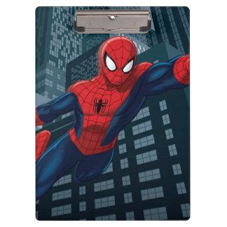 Spider-Man Swinging Through Downtown Clipboard