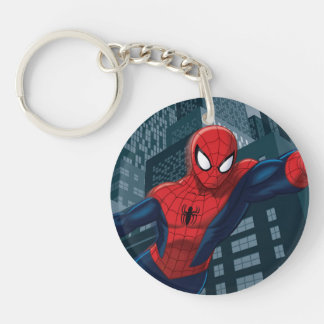 Spider-Man Swinging Through Downtown Double-Sided Round Acrylic Keychain
