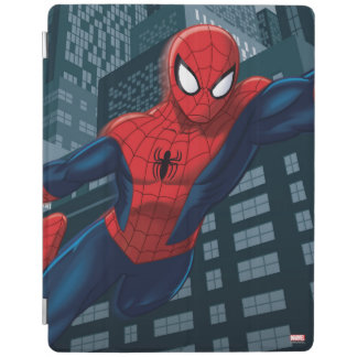 Spider-Man Swinging Through Downtown iPad Cover