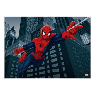 Spider-Man Swinging Through Downtown Poster