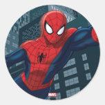 Spider-Man Swinging Through Downtown Round Sticker
