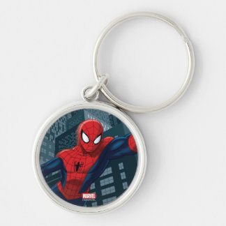 Spider-Man Swinging Through Downtown Silver-Colored Round Keychain
