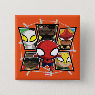Spider-Man Team Heroes Mini Group 2 Inch Square Button