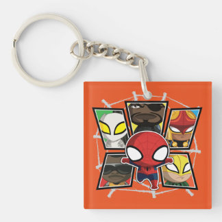 Spider-Man Team Heroes Mini Group Double-Sided Square Acrylic Keychain