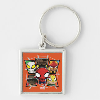 Spider-Man Team Heroes Mini Group Silver-Colored Square Keychain