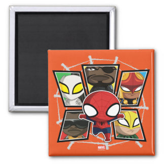 Spider-Man Team Heroes Mini Group Square Magnet