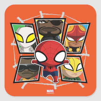 Spider-Man Team Heroes Mini Group Square Sticker