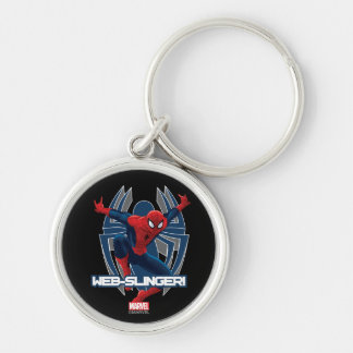 Spider-Man Web-Slinger Graphic Silver-Colored Round Keychain