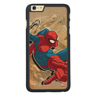 Spider-Man Web Slinging Above Grunge City Carved® Maple iPhone 6 Plus Case