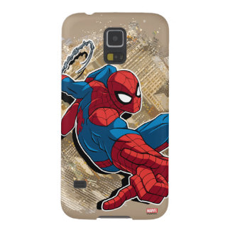 Spider-Man Web Slinging Above Grunge City Galaxy S5 Cover