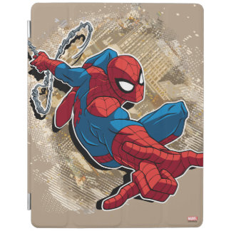 Spider-Man Web Slinging Above Grunge City iPad Cover