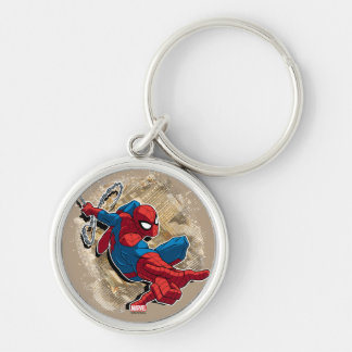 Spider-Man Web Slinging Above Grunge City Silver-Colored Round Keychain