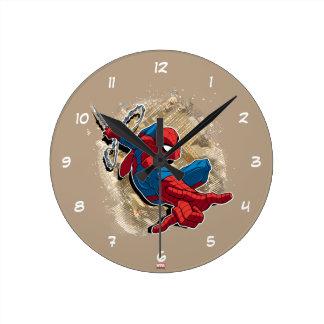 Spider-Man Web Slinging Above Grunge City Wall Clock