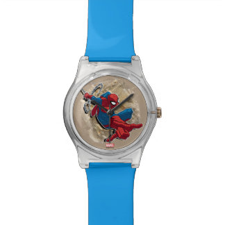 Spider-Man Web Slinging Above Grunge City Wristwatches