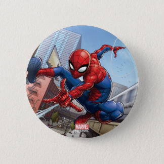 Spider-Man Web Slinging By Train 2 Inch Round Button