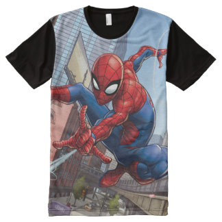 Spider-Man Web Slinging By Train All-Over-Print T-Shirt