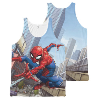 Spider-Man Web Slinging By Train All-Over-Print Tank Top