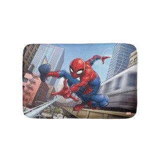 Spider-Man Web Slinging By Train Bath Mat