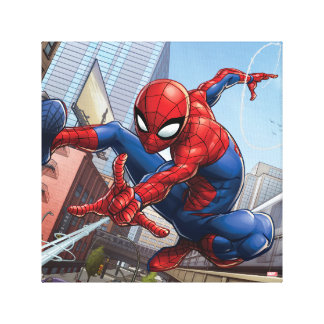 Spider-Man Web Slinging By Train Canvas Print