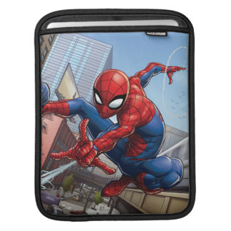 Spider-Man Web Slinging By Train iPad Sleeve