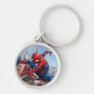 Spider-Man Web Slinging By Train Keychain