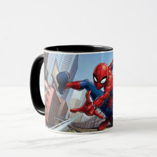 Spider-Man Web Slinging By Train Mug