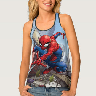Spider-Man Web Slinging By Train Tank Top