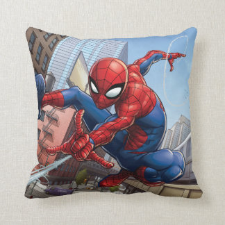 Spider-Man Web Slinging By Train Throw Pillow