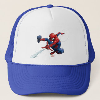 Spider-Man Web Slinging By Train Trucker Hat