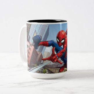 Spider-Man Web Slinging By Train Two-Tone Coffee Mug