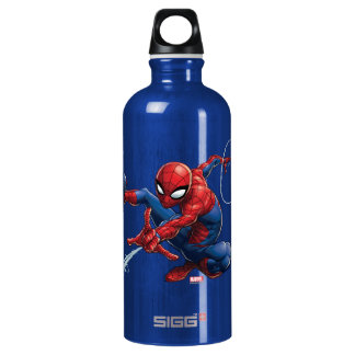 Spider-Man Web Slinging By Train Water Bottle