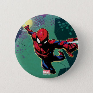 Spider-Man Web Slinging From Above 2 Inch Round Button