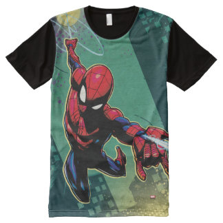 Spider-Man Web Slinging From Above All-Over-Print T-Shirt