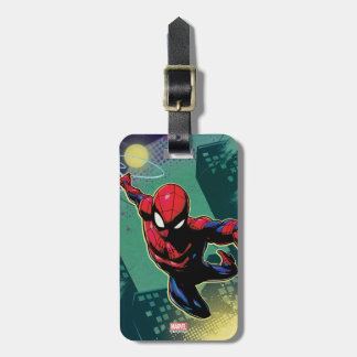 Spider-Man Web Slinging From Above Bag Tag