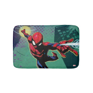 Spider-Man Web Slinging From Above Bath Mat