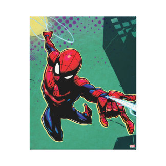 Spider-Man Web Slinging From Above Canvas Print