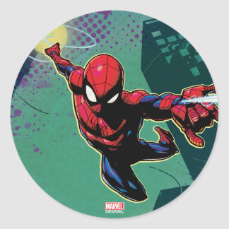 Spider-Man Web Slinging From Above Classic Round Sticker