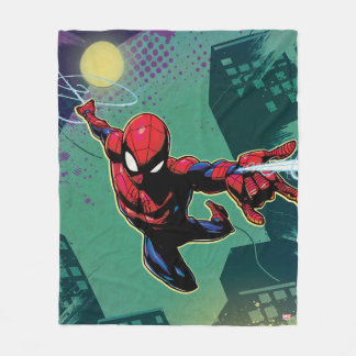 Spider-Man Web Slinging From Above Fleece Blanket