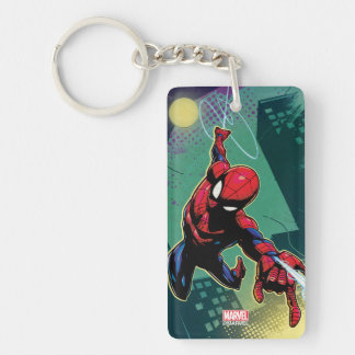 Spider-Man Web Slinging From Above Keychain