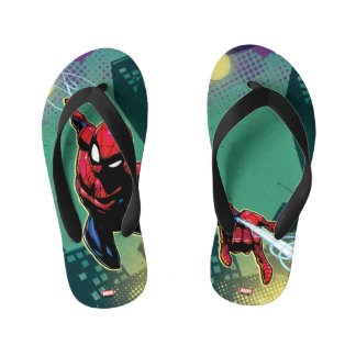 Spider-Man Web Slinging From Above Kid's Flip Flops