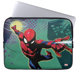 Spider-Man Web Slinging From Above Laptop Sleeve