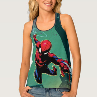 Spider-Man Web Slinging From Above Tank Top