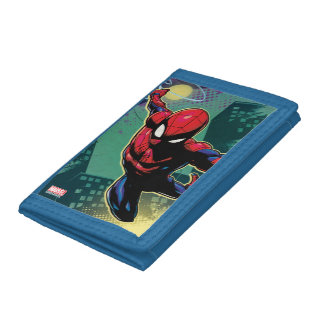 Spider-Man Web Slinging From Above Tri-fold Wallet