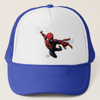Spider-Man Web Slinging From Above Trucker Hat
