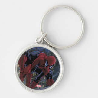 Spider-Man Web Slinging From Daily Bugle Silver-Colored Round Keychain