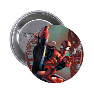 Spider-Man Web Slinging In City Marker Drawing 2 Inch Round Button