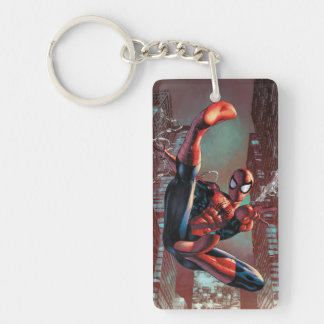 Spider-Man Web Slinging In City Marker Drawing Double-Sided Rectangular Acrylic Keychain