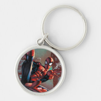 Spider-Man Web Slinging In City Marker Drawing Silver-Colored Round Keychain