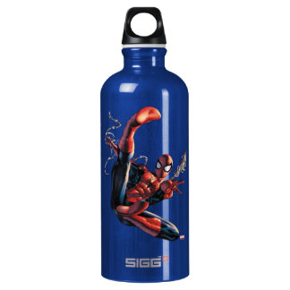 Spider-Man Web Slinging In City Marker Drawing Water Bottle